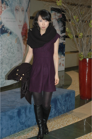 black black label coat - black MarCo boots - purple T7A dress