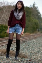 gray Metropark scarf - crimson PacSun sweater - black Nordstrom tights