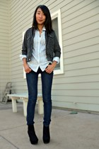black DSW shoes - navy Loft jeans - dark gray Forever 21 jacket