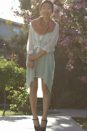 pink Forever 21 scarf - aquamarine Forever 21 dress
