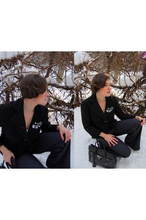 black Zara jacket - black no name accessories - blue Orsay pants
