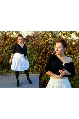 black vintage blouse - black CCC shoes - white Mango shirt - black H&M