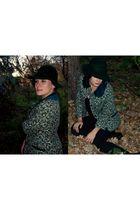 green vintage hat - green swap jacket - black Zara - black CCC