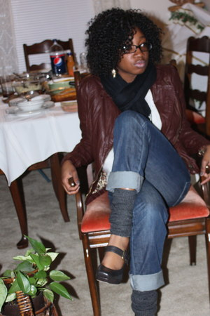 brown Forever 21 jacket - blue Levis jeans - brown Jessica Simpson shoes