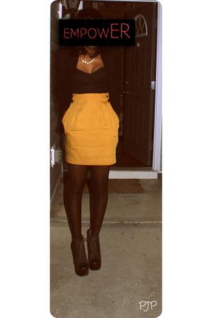 green lita khaki Jeffrey Campbell heels - gold Goodwill skirt