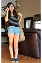studded De Lux bag - cuffed denim Juicy Couture shorts - slip on Forever21 sneak