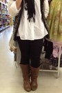 Brown-target-boots-black-tjmaxx-leggings-white-tjmaxx-shirt