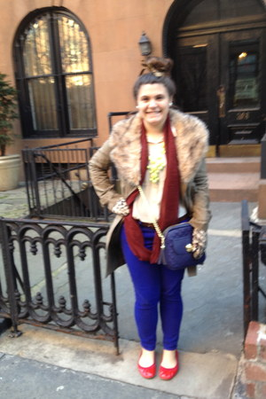red lemon grass flats - blue JCrew jeans - camel BB Dakota jacket