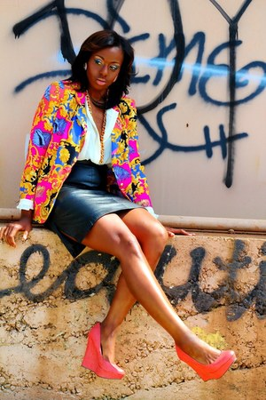 bold print blazer - blouse - leather pencil skirt