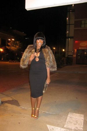 black asoscom dress - burnt orange brown fur coat INC coat