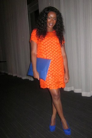 orange asos dress - blue clutch asos bag - blue platform Jessica Simpson heels