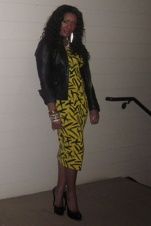 yellow asos dress - black Zara jacket - gold gold necklace Macys necklace
