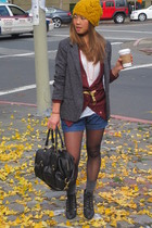 silence and noise blazer - JCrew cardigan - Levis shorts - deena and ozzy shoes