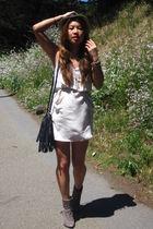 Aritzia dress - Reiss boots - thrift purse - Bebe hat