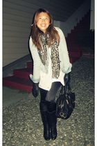 abercrombie and fitch jacket - Aldo scarf - Banna Republic cardigan - Fownes glo
