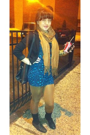 blue hm dress - black hm jacket - mustard hm tights - outside stand scarf - blac