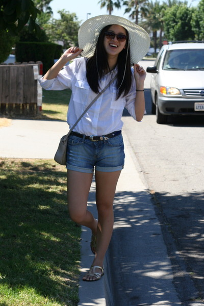 white shirt - off white sunhat hat - blue denim cuffed Gap shorts