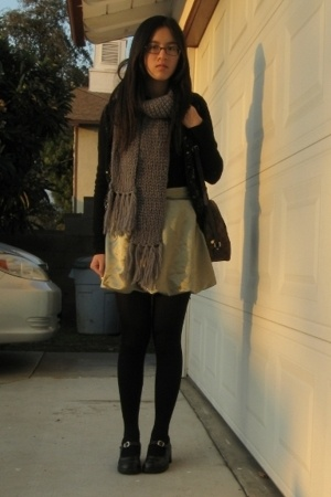 f21 scarf - skirt - sweater - shoes