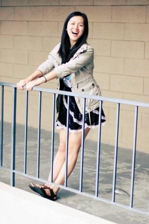tan trench BB Dakota jacket - black lace skirt - charcoal gray top - dark brown