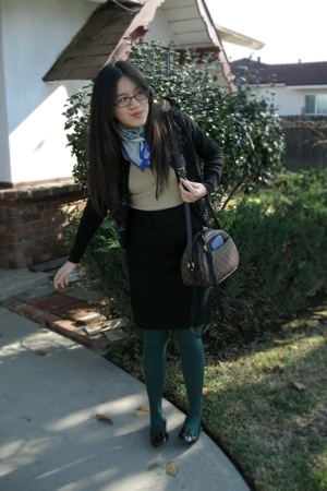 blue scarf - black sweater - beige sweater - black skirt - green tights - black