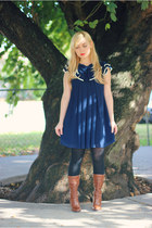 navy sailor Forever21 dress - tawny Charlotte Russe boots - black Express tights