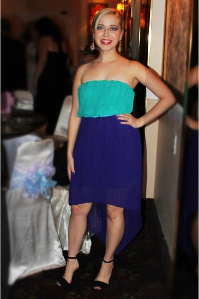 deep purple Marineblu dress - black Zara heels - gold Forever 21 earrings