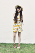 yellow Topshop dress - tan Nine West sandals