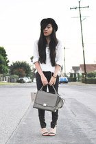 black asos hat - black 7 for all mankind jeans - gray Celine bag