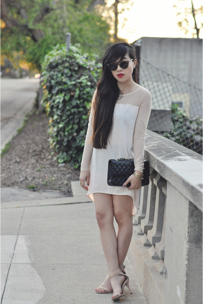 nude Nasty Gal dress - black Chanel bag - nude Zara heels