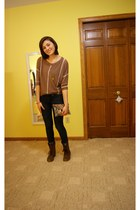 dark brown Steve Madden boots - navy Gap jeans - light brown Charlotte Russe shi