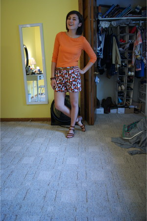 carrot orange Rivamonte shirt - white JCrew shorts - light brown JCrew sandals -