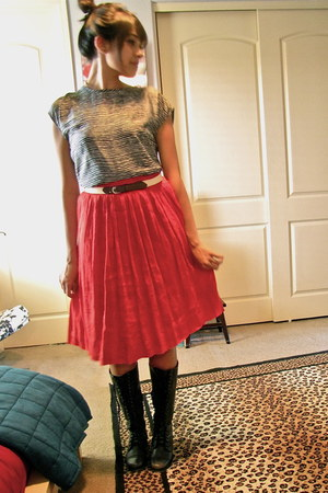 thrifted vintage boots - Anthropologie blouse - thrifted vintage skirt