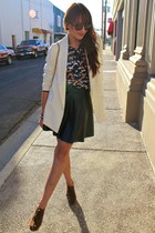 white Silence & Noise blazer - brown Forever 21 shoes - navy H&M shirt