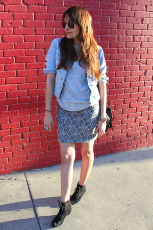 heather gray tribal print Forever 21 skirt - black Zara shoes