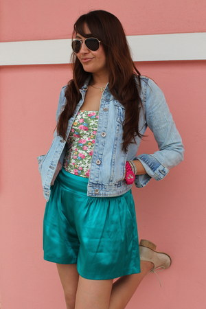 light blue Zara jacket - turquoise blue Express shorts - white Zara top