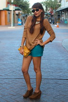 turquoise blue leather shorts Forever 21 shorts - brown Forever 21 shoes