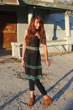 black sheer Kimchi Blue dress - bronze Zara boots