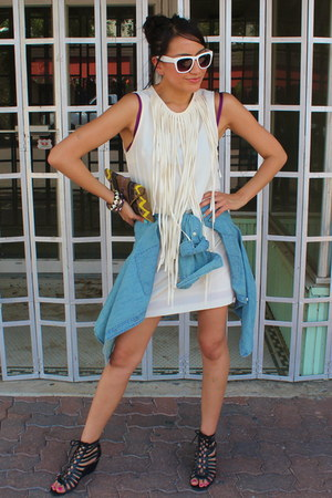 white fringe Zara dress - blue denim Forever 21 shirt
