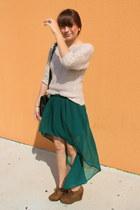 brown Forever 21 shoes - beige Staring at Stars sweater - black Zara bag