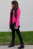hot pink Zara blazer - black Lucky Brand boots - black The Limited jeans
