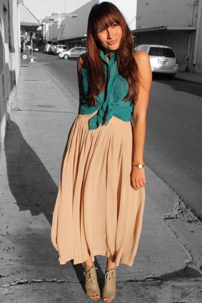 light pink Forever 21 skirt - teal papaya top - tan Forever 21 heels
