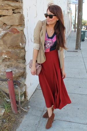 tawny Forever 21 skirt - brown Zara boots - tan Silence  Noise blazer