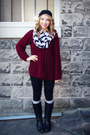 Black-thrifted-boots-maroon-wool-stitches-sweater