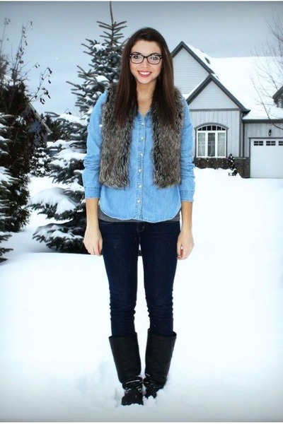 blue Forever 21 shirt - navy American Eagle jeans - brown thrift vest