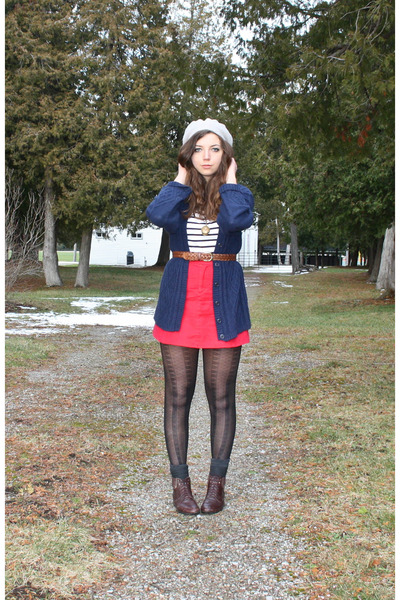 red thrifted skirt - navy Salvation Army cardigan - dark brown Ebay scarf