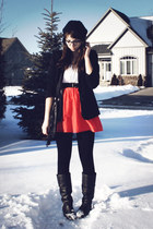 black leather thrift boots - coral thrift dress