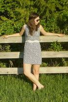 blue vintage dress - white vintage belt - silver payless shoes - black wall mart