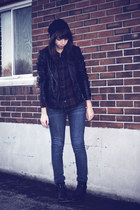 black gift jacket - navy thrifted jeans