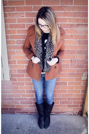 brown Suzy Shier coat - blue Value Village jeans