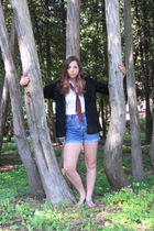 red vintage tie - black Borrowed from my mom cardigan - blue vintage shorts - wh